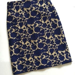 J.Crew Blue Gold Floral Jacquard Pencil Skirt